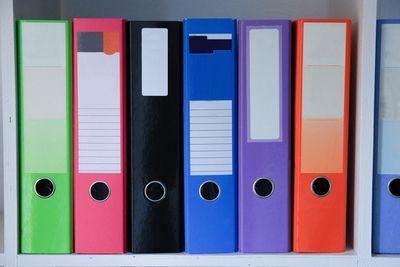 Brightly colored folders