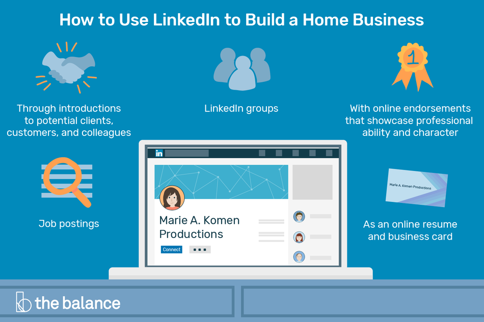 "Image shows a laptop open to a linkedin profile for ""marie a. komen productions."" Text reads: ""How to use linkedin to build a home business: through introductions to potential clients, customers, and collegues; linkedin group; with online endorsements that showcase professional ability and character; as an online resume and business card; job postings"""