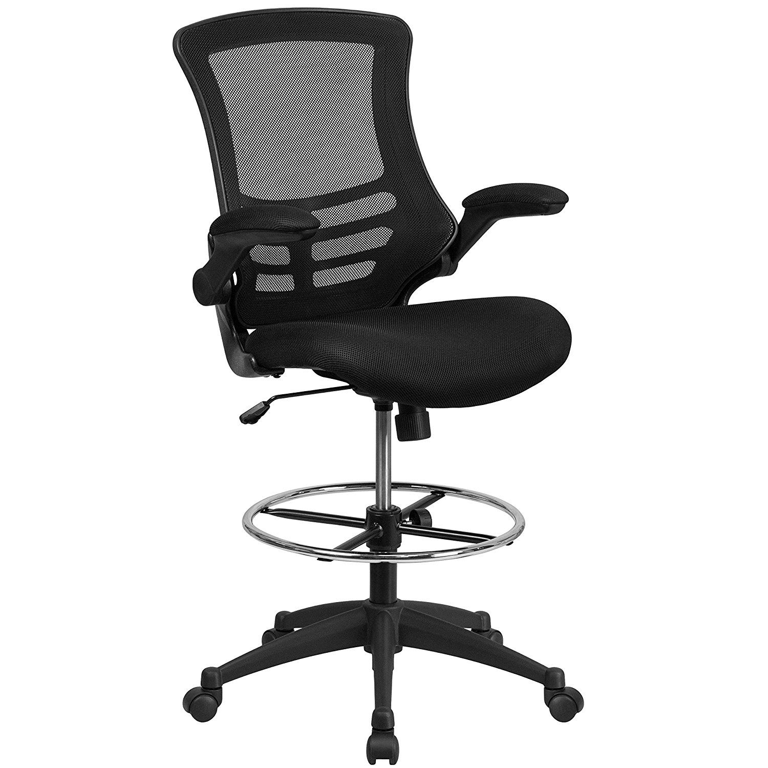 Rolling Chair Drafting Stool With Wheel Height Adjustable Foot Rest Swivel Black
