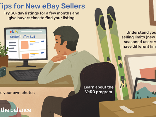 "Image shows a man sitting at a computer in a room surrounded by items such as paintings, skis, boxes, clothes, and a camera. Text reads: ""Tips for new ebay sellers: try 30-day listings for a few months and give buyers time to find your listing; take your own photos; understand your selling limits (new and seasoned users will have different limits"""