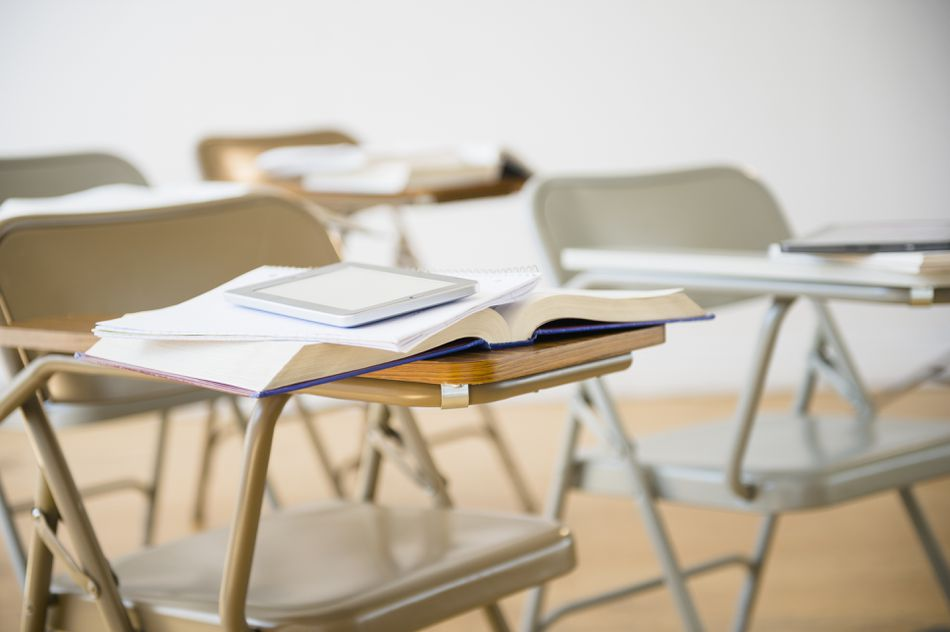 empty classroom with books