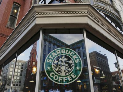 Exterior view of a Starbucks in the Chinatown neighborhood of Washington, DC