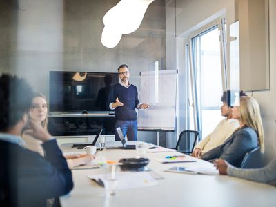 Group of people during a presentation in modern office