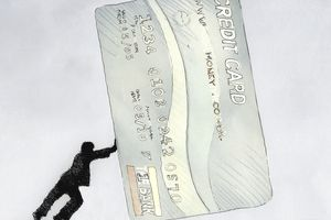 Man pushing large credit card