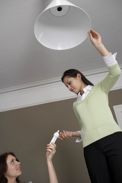 Two women putting in an eco-friendly light bulb
