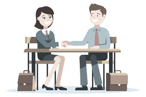Drawing of two people in a business meeting