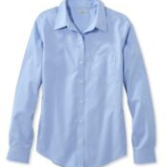 LL Bean Wrinkle-Free Pinpoint Oxford Shirt, Long-Sleeve Relaxed Fit