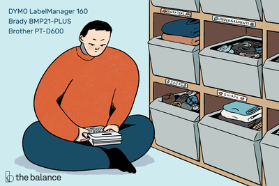 Image shows a personal sitting on a floor in front of an organization unit filled with bins; he is making labels for each bin. The top left corner reads: