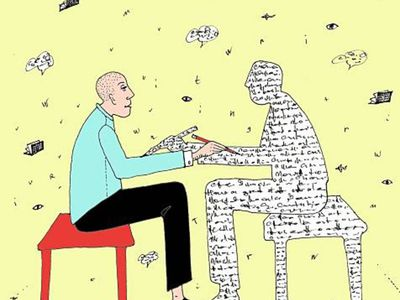 Male sitting and writing in front of a freelance ghostwriter made of words, surrounded by airborne ideas