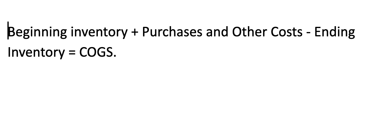Cost of Goods Sold Equation