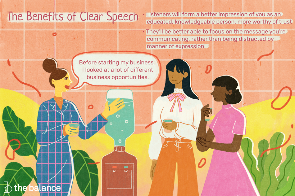 "Image shows three women of varying ethnicities chatting by a water cooler in a plant-filled office. Text reads: ""The benefits of clear speech: listeners will forma a better impression of oyu as an educated knowledgeable person, more worthy of trust. They'll be better able to focus on the message you're communicating, rather than being distracted by manner of expression. One woman is saying 'Before starting my business, I looked at a lot of different business opportunities.' """