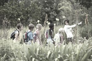 Volunteer leading kids on a fielf trip.