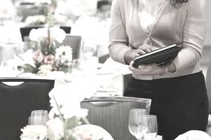 An event planner in a dining space
