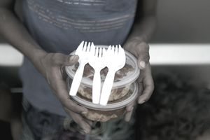 Holding containers with Pasta and plastic forks