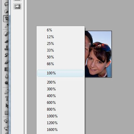 Adjusting view to 100% in Photoshop CS5
