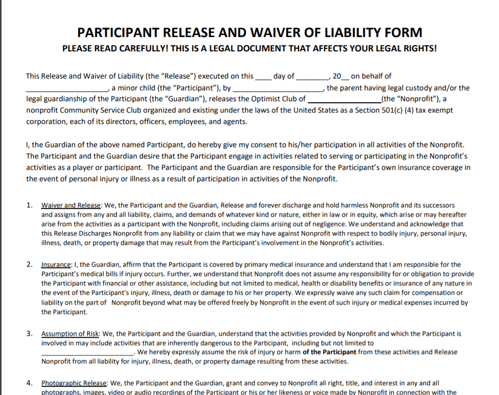 Liability Waiver or Release Form