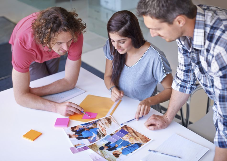 Employees designing a marketing campaign.