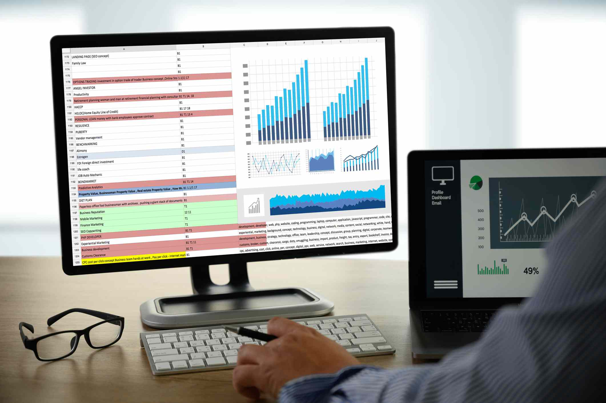 Cropped Hand Of Businessman Analyzing Data On Desk In Office
