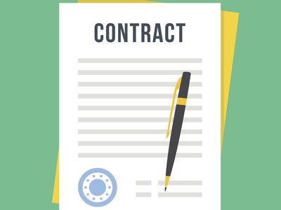 Contract document with rubber stamp, pen.