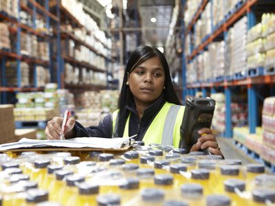 Worker in a food distribution warehouse