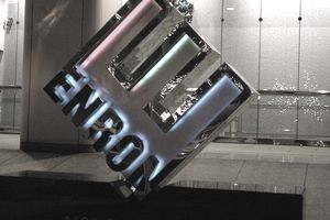 Enron logo on a glass door.