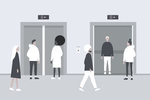 Illustration of diverse characters waiting for elevators.