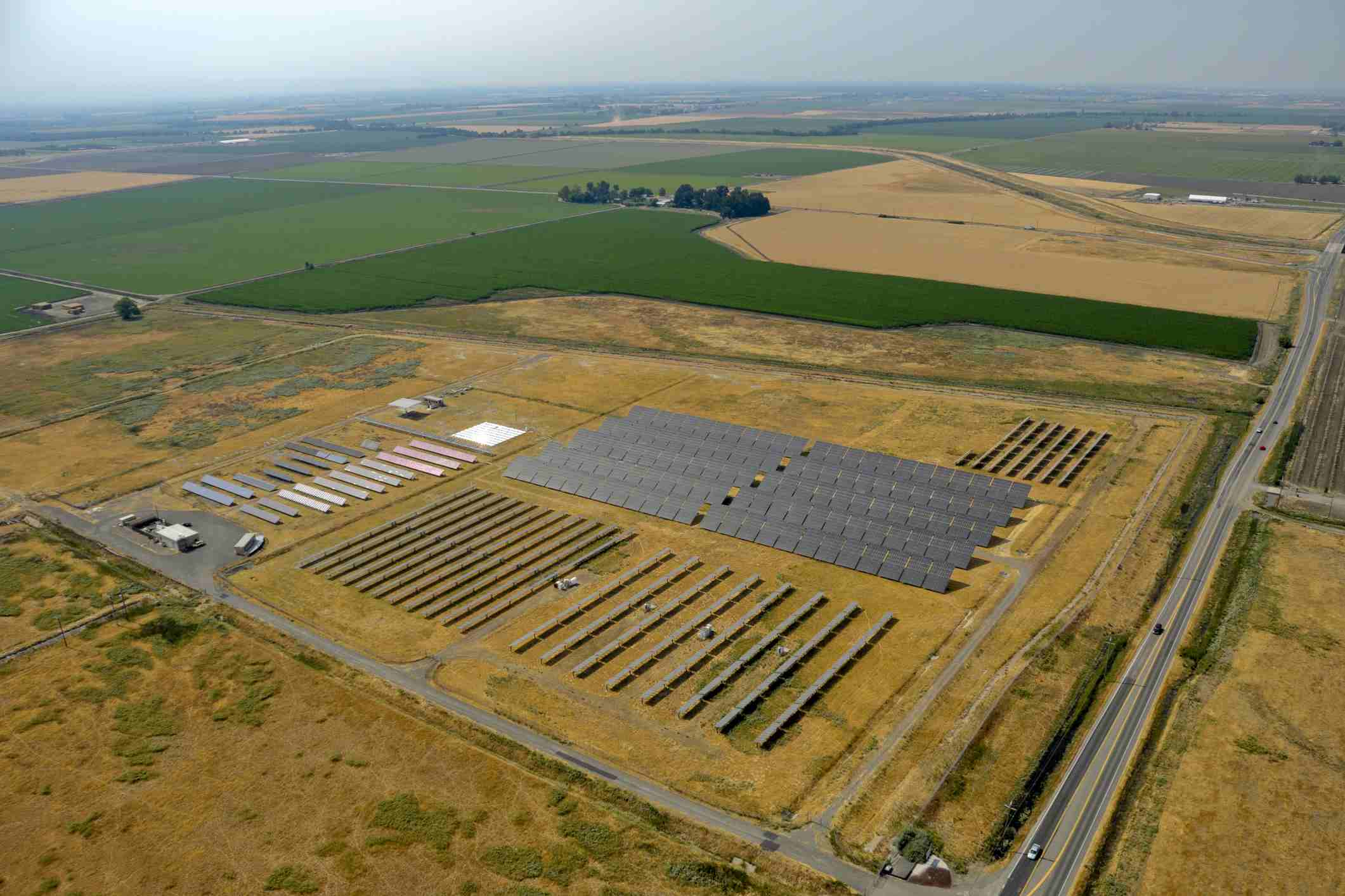 Ariel view of solar panels at UC Davis photovoltaic research farm