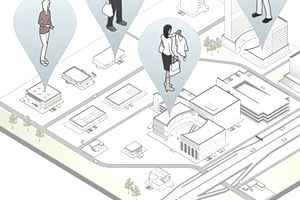 3D map pinpointing the locations of people as they shop, work, and check their mobile devices