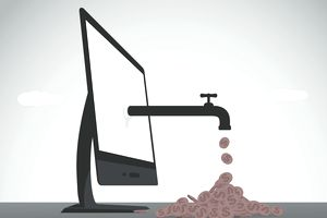 illustration showing faucet dripping money out of a computer screen