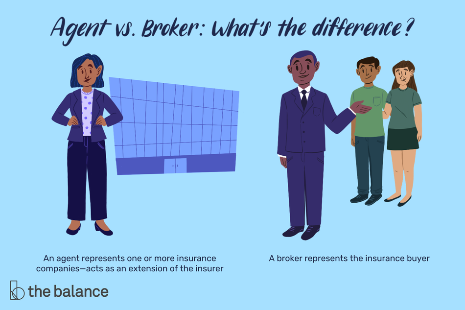 "Image shows a woman in a suit standing in front of an office building, and a man in a suit standing in front of a couple in plain clothes. Text reads: ""Agent vs. Broker: What's the Difference? An agent represents one or more insurance companies—acts as an extension of the insurer. A broker represents the insurance buyer"""