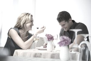 Couple on romantic date at restaurant