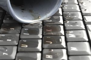 coffee spilled on computer keyboard