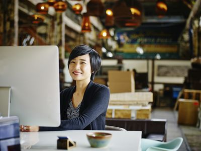 small business owner taking an online course