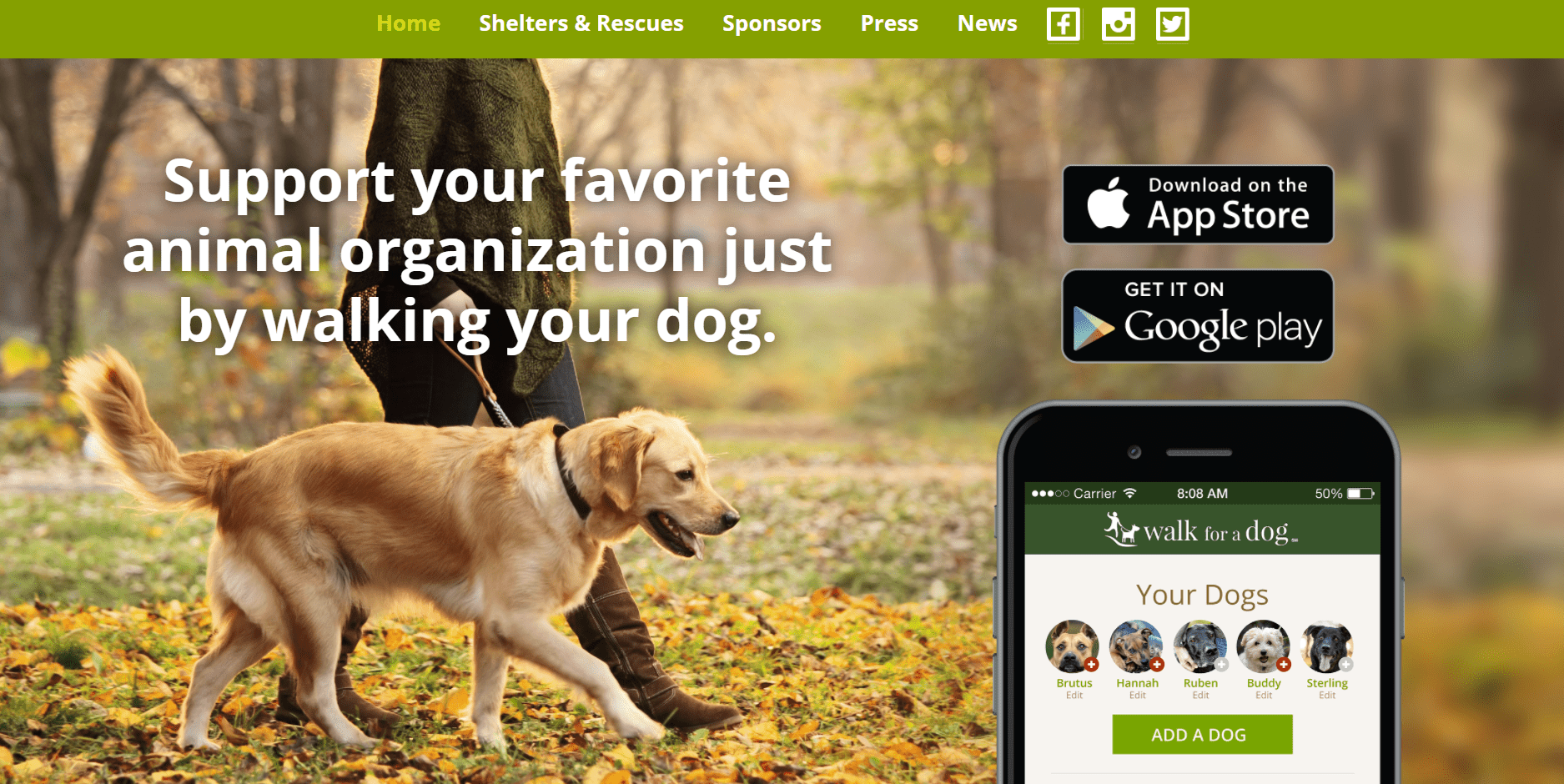 A dog walking app for charity.