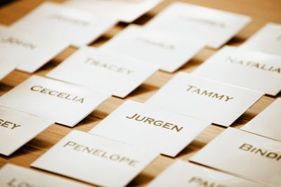 Close up of name tags on table, representing trademarking a name.