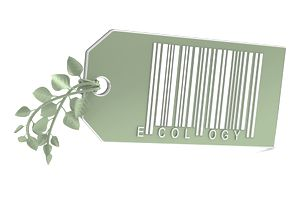 Green bar code tag with ecology printed on it and a leafy plant shoot for a tie
