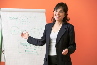 Businesswoman giving a presentation in a meeting.