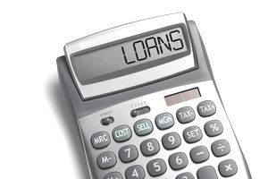 "Calculator that is displaying the word ""loans"""