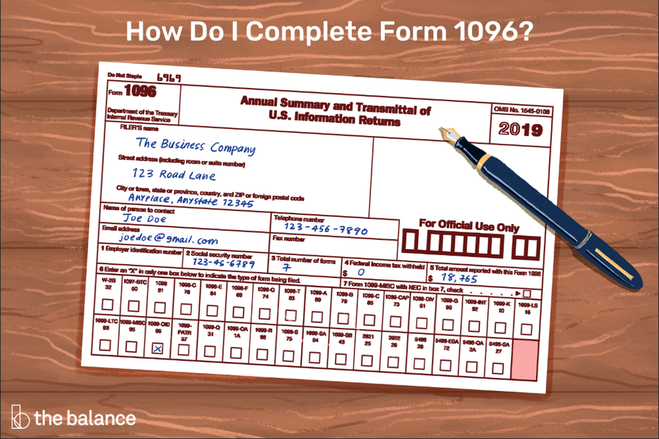 "Image shows a 1096 form sitting on a wooden table. The form is filled out with generic info for ""Joe Doe""."