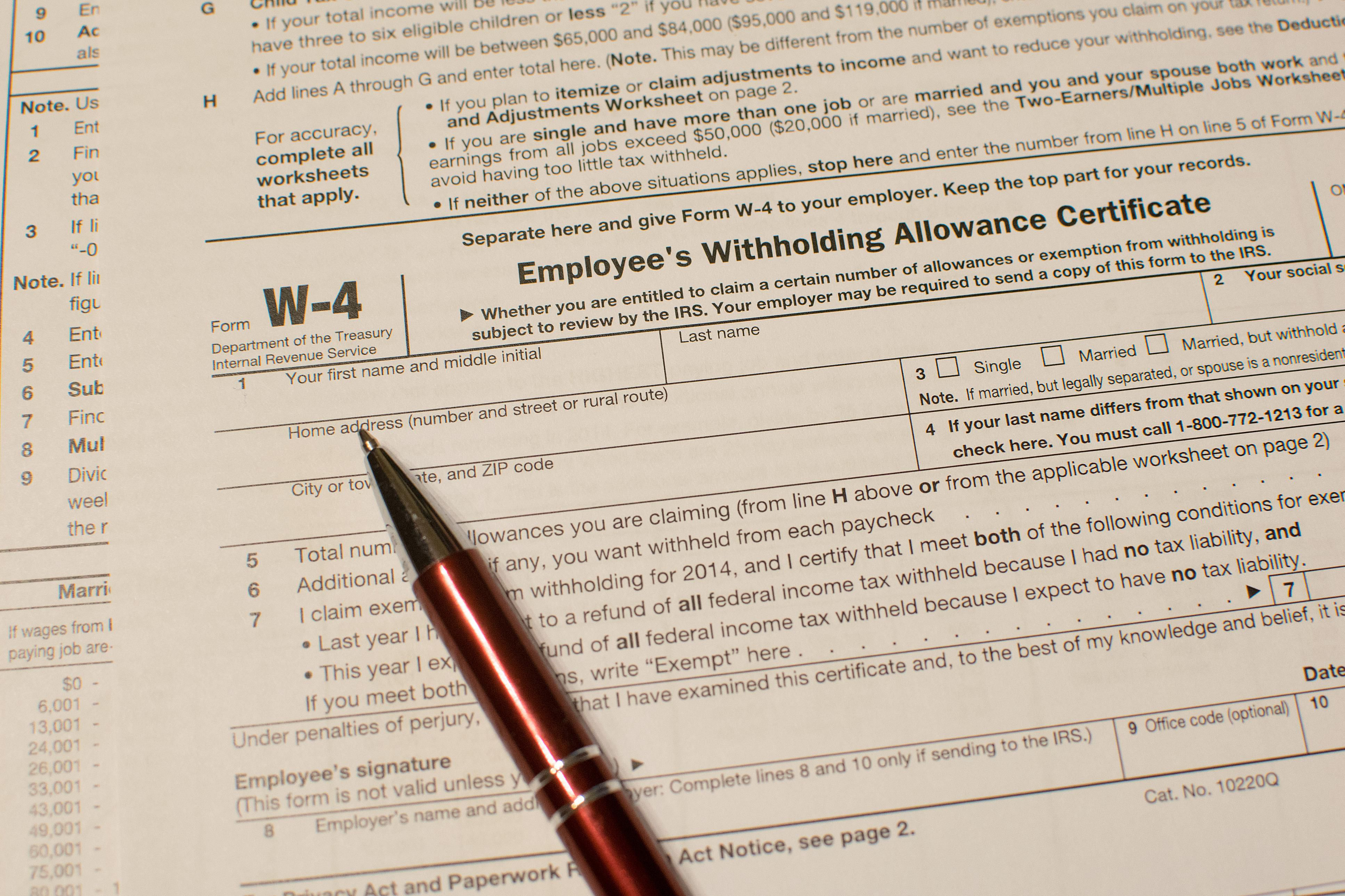 Form W-4 Information for Employers