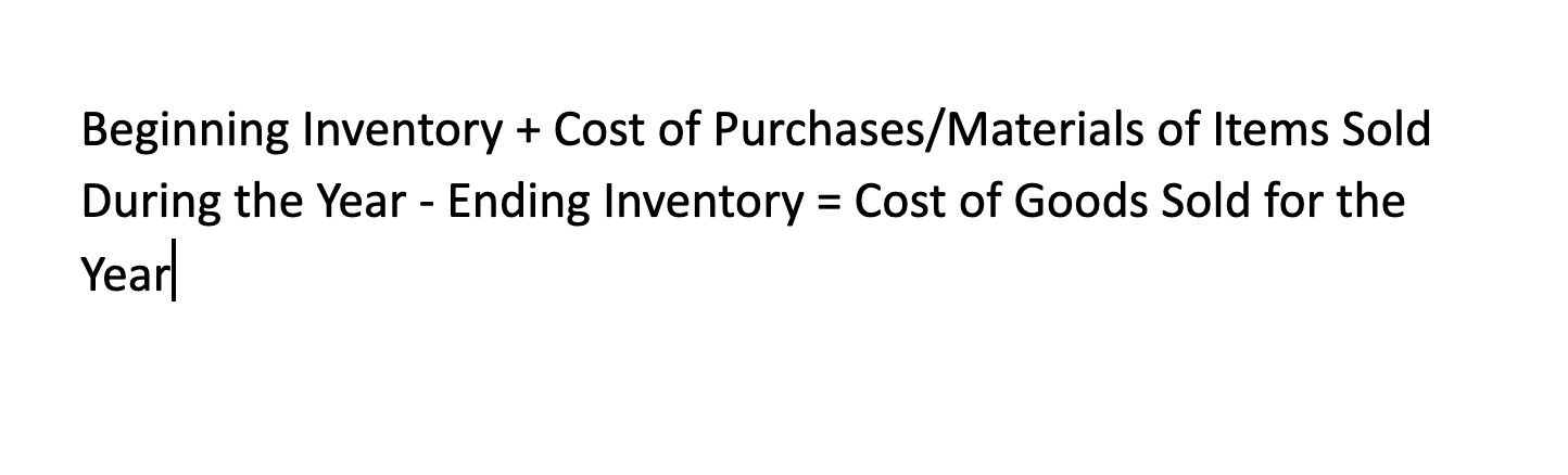 Cost of Goods Sold Calculation