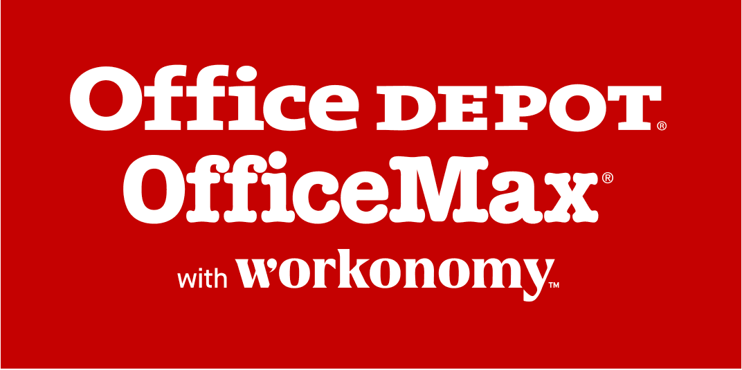 Office Depot Office Max with Workonomy Red and White logo