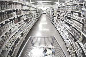 Grocery Store Aisle Showing Too Many Products