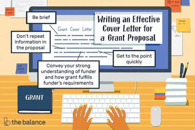 This illustration shows how to write an effective cover letter for a grant proposal, including tips for being brief, not repeating information in the proposal, getting to the point quickly, and conveying your strong understanding of funder and how the grant fulfills the funder's requirements.