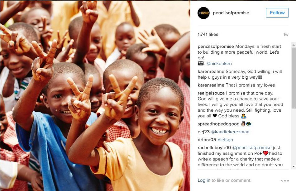 Pencils of Promise Instagram example