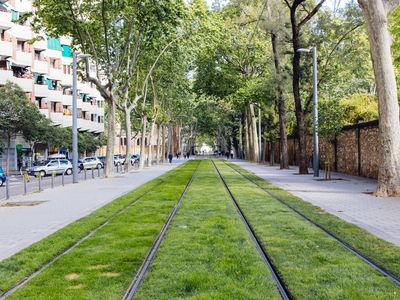 Tramway railorad track with green grass in Barcelona, Spain
