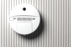 Smoke detector and carbon monoxide alarm mounted on wall