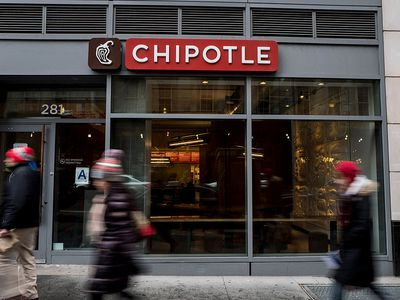 Exterior of a Chipotle restaurant on a busy city street.