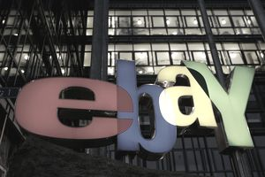 Exterior of an office building with the eBay logo