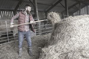 Man in barn shovelling hay